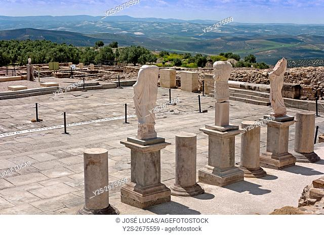 Torreparedones Archaeological Park, roman statues in the forum-1st century, Baena, Cordoba province, region of Andalusia, Spain, Europe
