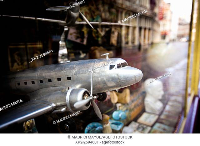 Metal plane in a typical Ghent toy shop, Ghent, Belgium