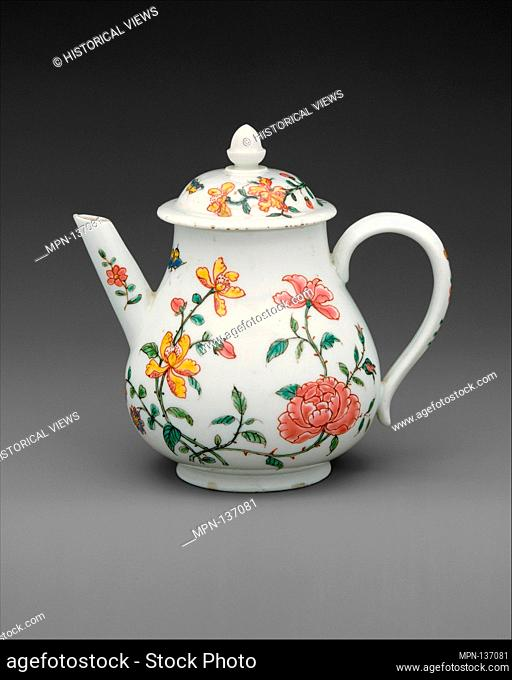 Teapot with cover. Factory: Meissen Manufactory (German, 1710-present); Date: ca. 1720-30; Culture: German, Meissen, with Dutch decoration; Medium: Hard-paste...