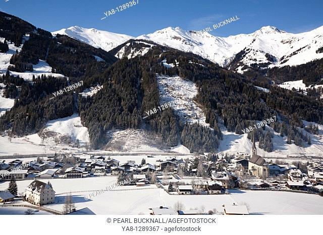 Rauris Austria / January Alpine ski resort village in Austrian Alps with snow in Rauriser Sonnen Valley and on Sonniblick Mountains in winter in Nationalpark...