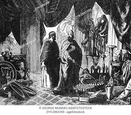 Croesus was the king of Lydia who, according to Herodotus, reigned for 14 years: from 560 BC until his defeat by the Persian king Cyrus the Great in 546 BC