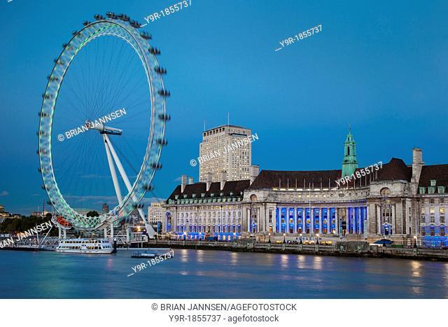 Twilight at the London Eye along River Thames, London England, UK