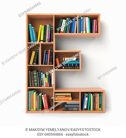 Letter E. Alphabet in the form of shelves with books isolated on white. 3d illustration
