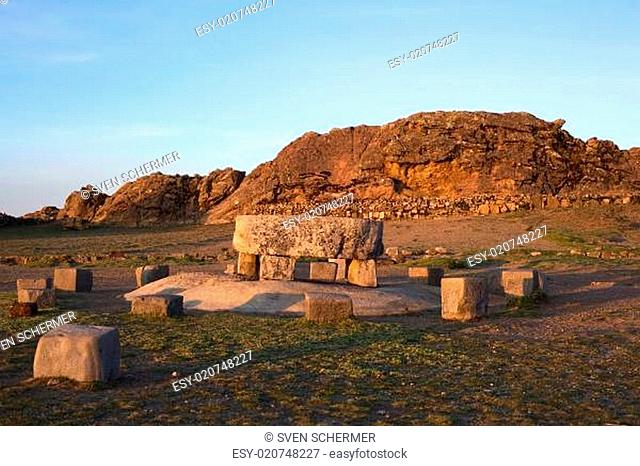 Ceremonial Table and the Rock of the Puma on Isla del Sol in Lake Titicaca, Bolivia
