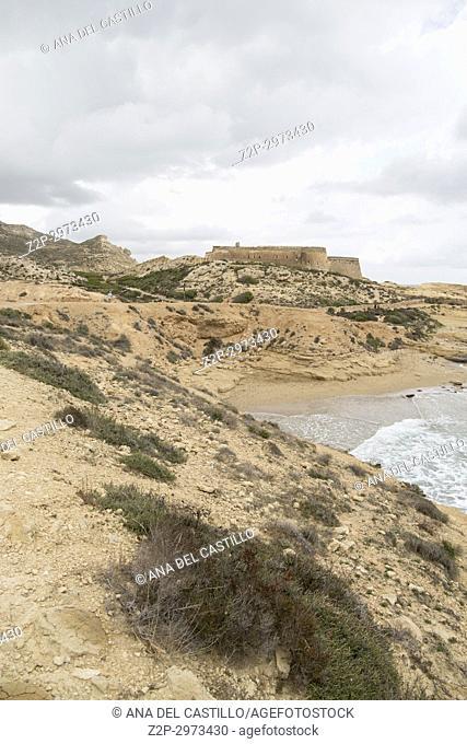 El Playazo beach in Cabo de Gata Almeria Andalusia, Spain San Ramon castle