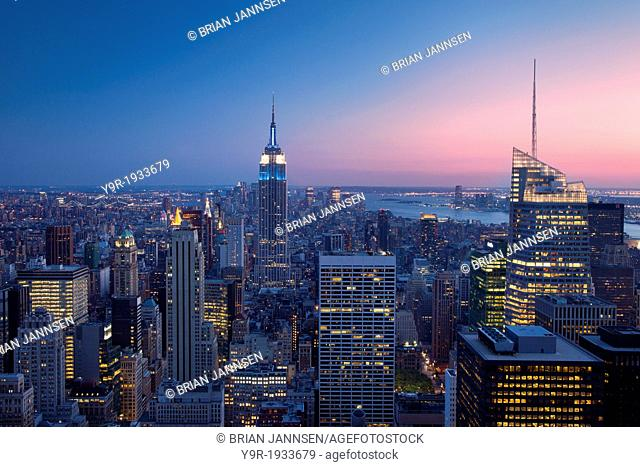 Twilight view over Manhattan, New York City USA