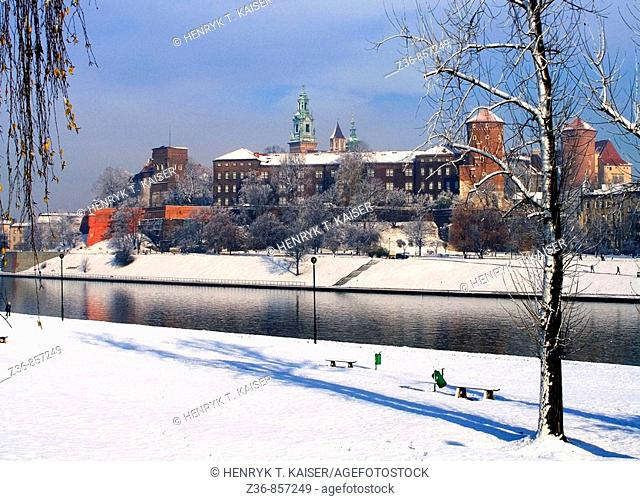 Poland, Krakow, Wawel Hill, Vistula river