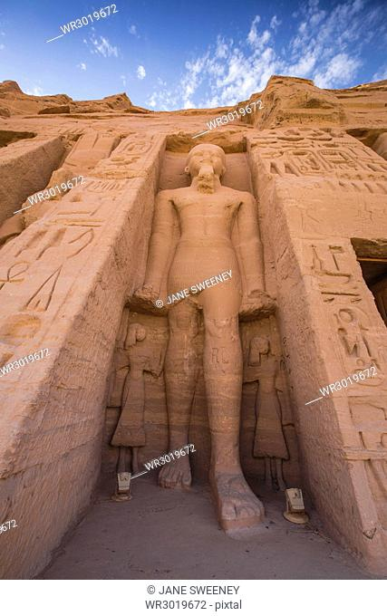 The small temple, dedicated to Nefertari and adorned with statues of the King and Queen, Abu Simbel, UNESCO World Heritage Site, Egypt, North Africa, Africa
