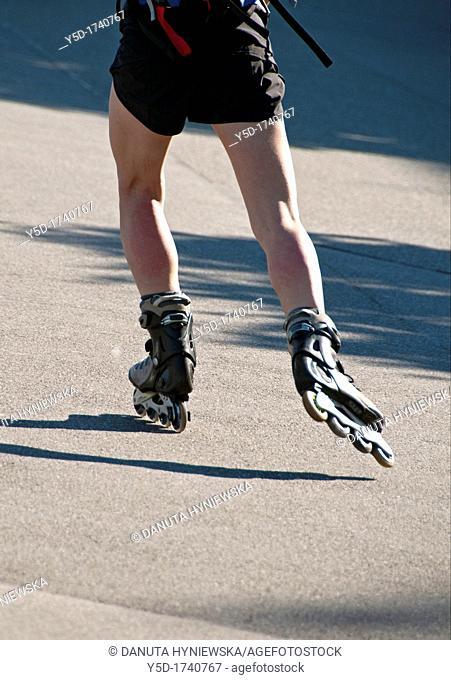 Inline-skater on the street in Geneva, Switzerland, Europeans, Europe