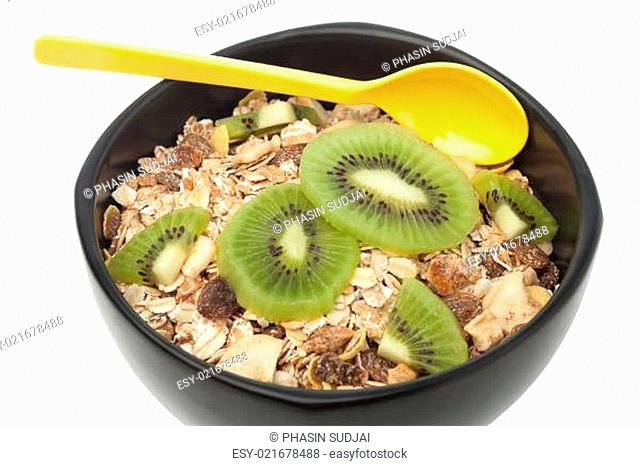 Muesli and kiwi closed up