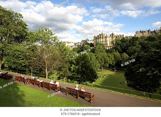 princes street gardens in edinburgh city centre scotland uk united kingdom