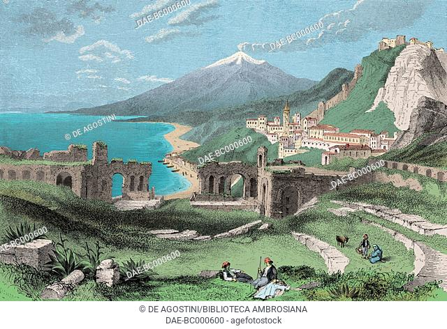 Taormina and Mount Etna, Italy, drawing by Adolphe Rouargue (1810-after 1870) from a Month in Sicily by Felix Bourquelot (1815-1868)
