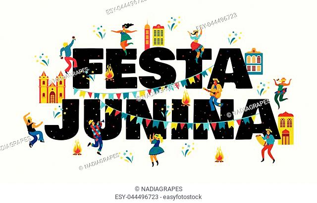 Festa Junina. Vector templates for Latin American holiday, the June party of Brazil. Design for banner and over use