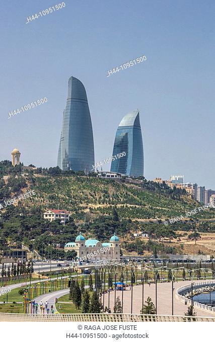 Azerbaijan, Caucasus, Eurasia, Baku, Flame, architecture, boulevard, skyline, towers, Flame Towers
