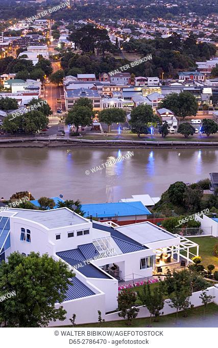 New Zealand, North Island, Wanganui, city skyline from Durie Hill, dusk
