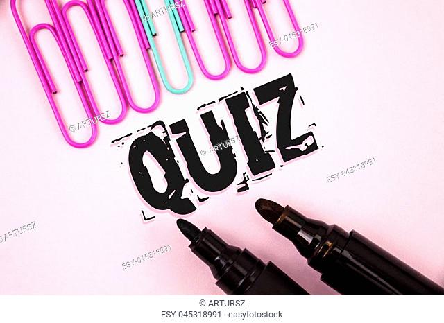 Handwriting text Quiz. Concept meaning Short Tests Evaluation Examination to quantify your knowledge written Plain Pink background Paper Pins and Markers next...