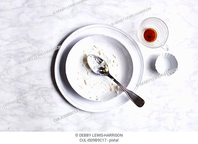 Empty breakfast bowl, overhead view