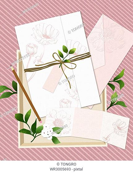 Wedding invitation card with flowers and plants