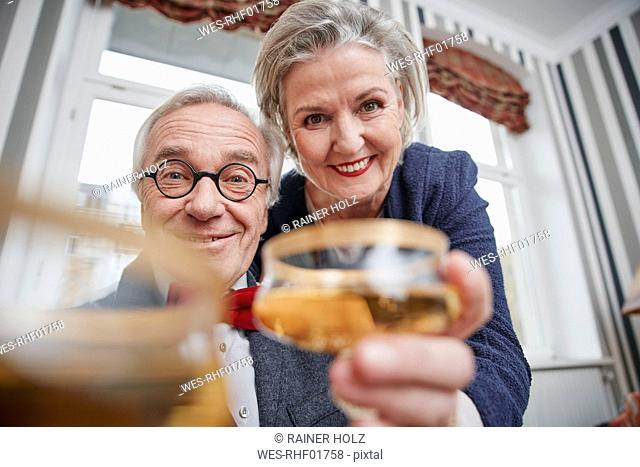 Portrait of happy senior couple holding champagne glasses
