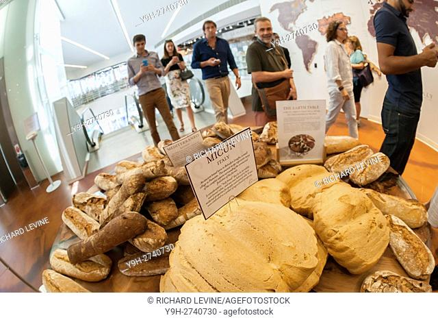 International loaves of bread greet shoppers at the grand opening of Eataly Downtown in Lower Manhattan in New York. Located in 4 World Trade Center the...