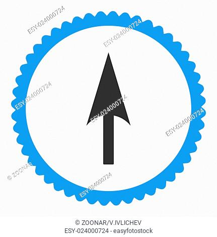 Arrow Axis Y flat blue and gray colors round stamp icon