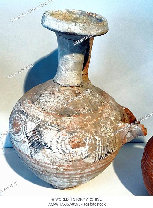 Painted beer jar with built-in strainer, Philistine. Dated 1100 BC