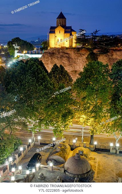 View of the Metekhi cathedral ,Tbilisi, Georgia