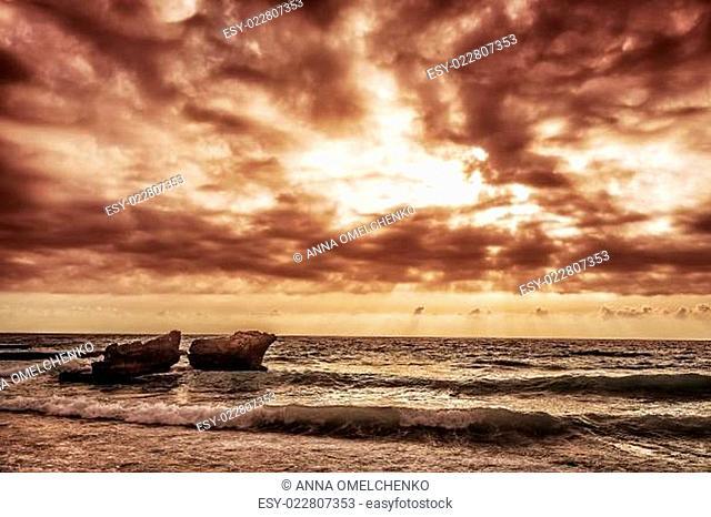 Overcast weather on the sea