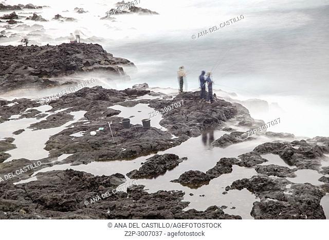 Wavy ocean in Mosteiros coast, Sao Miguel island, Azores archipelago, Portugal