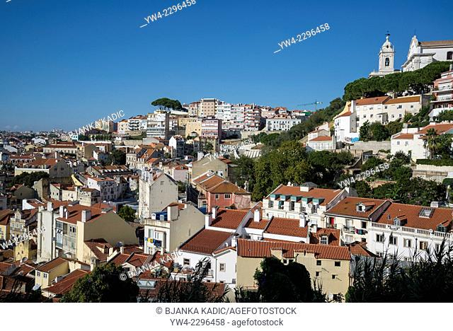 View of the city from Rua Costa do Castelo, Lisbon, Portugal