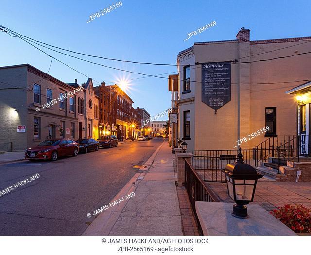 John Street in downtown Port Hope at dusk. Ontario, Canada