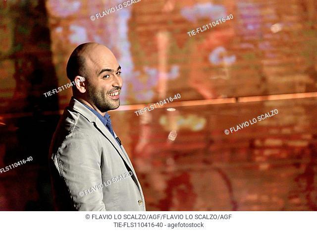 The journalist and writer Roberto Saviano at tv programme Che tempo che fa, Milan, ITALY-10-04-2016