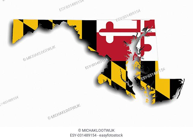 Map of Maryland filled with the state flag