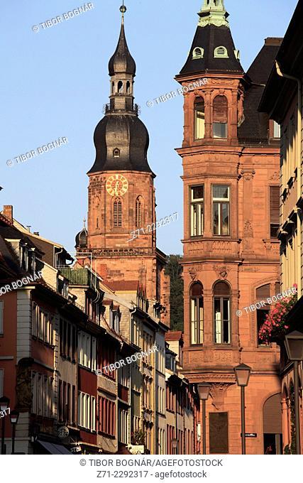 Germany, Baden-Württemberg, Heidelberg, Hauptstrasse, Church of the Holy Spirit