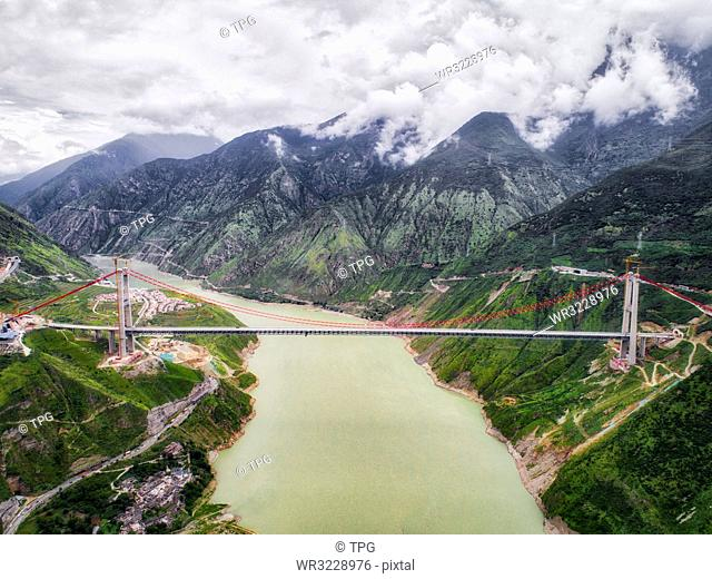 aerial photography of Luding Town;Sichuan Province;China
