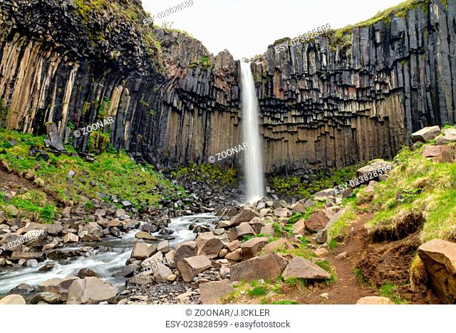 The Svartifoss waterfall in Skaftafell national pa