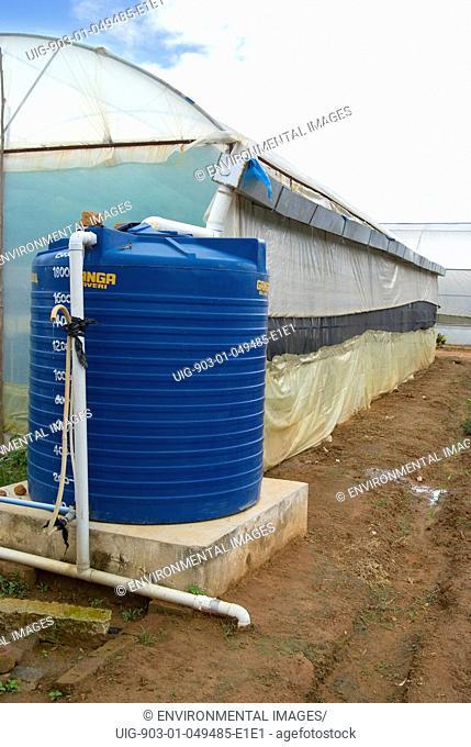 Rooftop rainwater harvesting system for water security in greenhouse - University of Agricultural Sciences, Vidyaranyapura, Bangalore, Karnataka, India