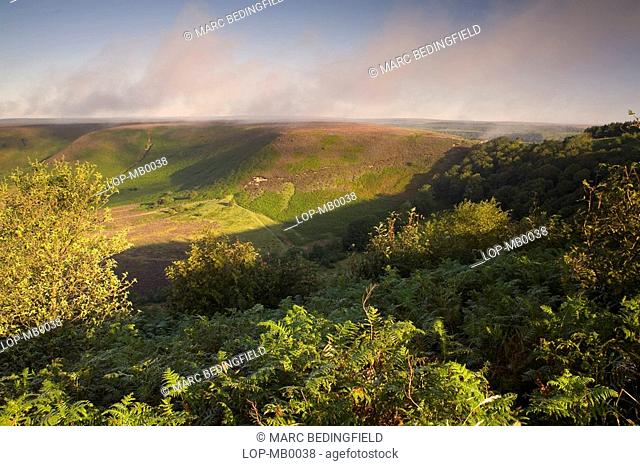 A view over the The Hole of Horcum. This is a vast 400ft deep natural hollow and measures 3/4 of a mile across. The Hole has been eroded over thousands of years...