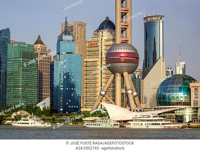 China, Shanghai City,Pudong District skyline, Oriental Pearl Tower