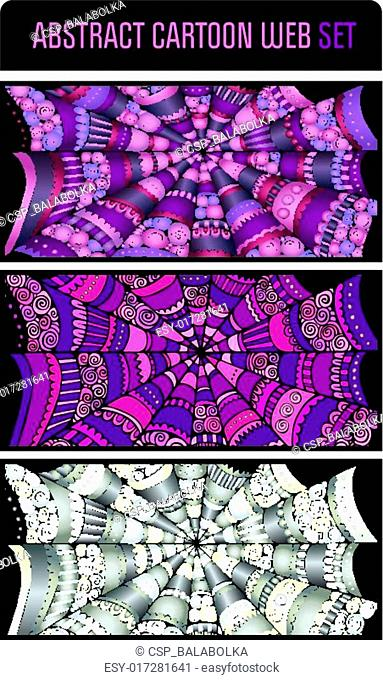 Abstract cartoon spider web background set