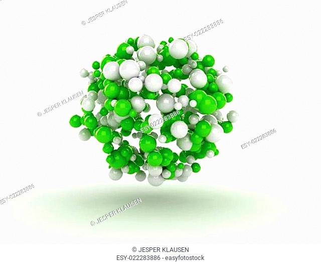 Abstract 3d spheres green molecules