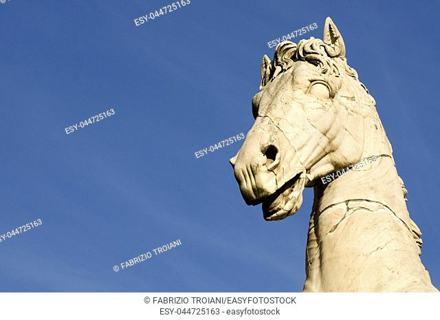 Detail of a roman statue in the Capitoline Hill, Rome Italy