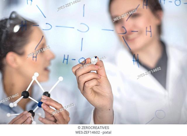 Two scientists working in lab writing notes on glass pane