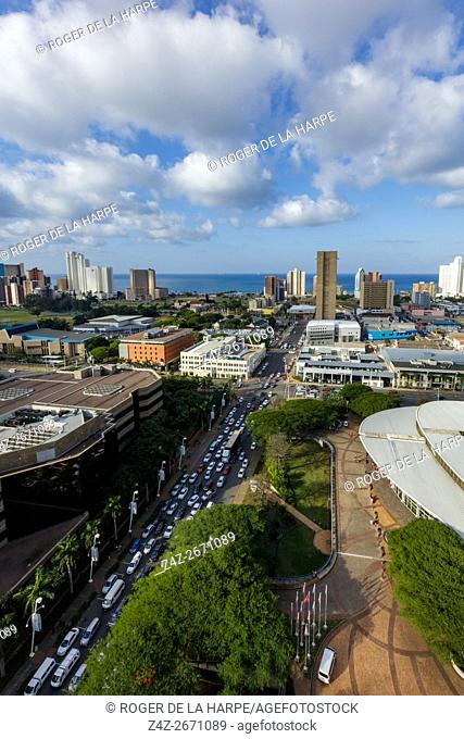 View of city of Durban or eThekwini and Durban International Convention Centre. KwaZulu Natal. South Africa