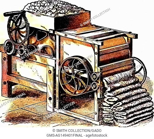 Illustration of a complex mechanical cotton gin with gears and levers processing cotton for use in textiles, 1878. Note: Image has been digitally colorized...