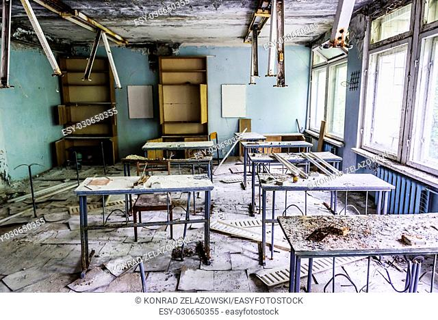 Classroom in High school No 3 in Pripyat ghost city of Chernobyl Nuclear Power Plant Zone of Alienation around nuclear reactor disaster in Ukraine
