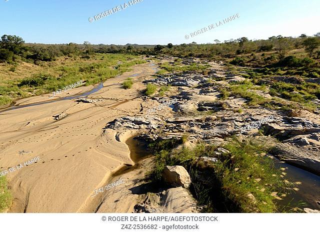 Scenic view Mbyamiti River. Southern Kruger National Park. Mpumalanga. South Africa