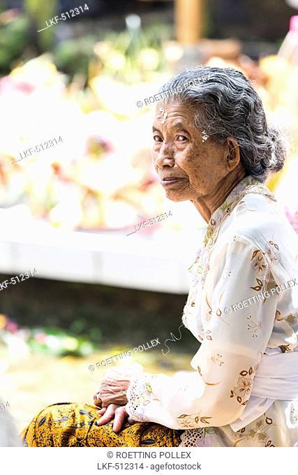 Senior woman, Odalan temple festival, Munduk, Bali, Indonesia