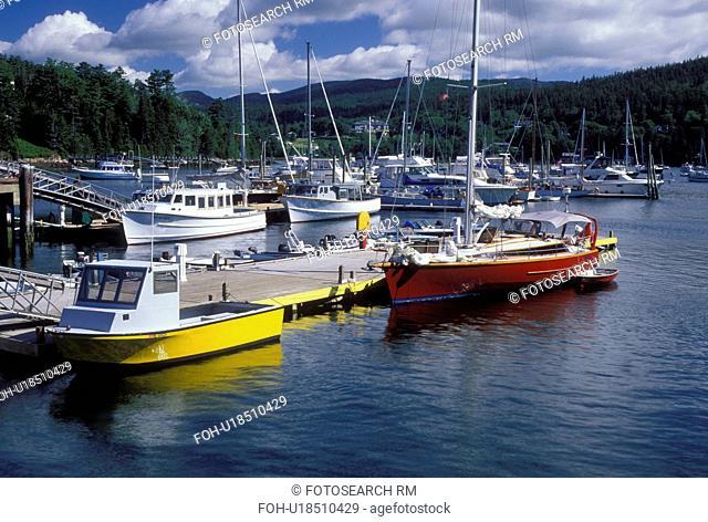 ME, Northeast Harbor, Mount Desert Island, Maine, Boats docked at the marina in Northeast Harbor on the Atlantic Ocean