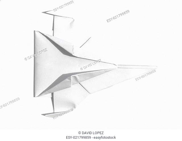 Spaceship of paper overhead view